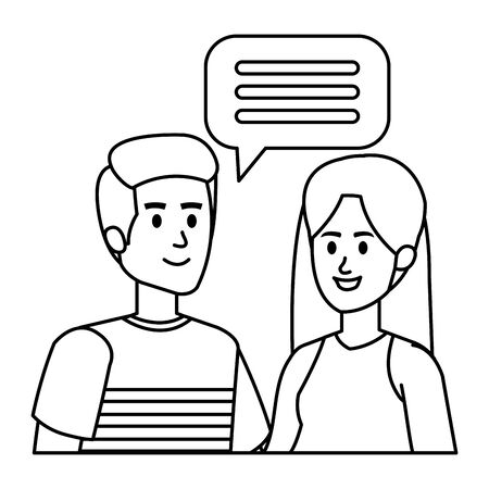 young couple with speech bubble vector illustration design Иллюстрация