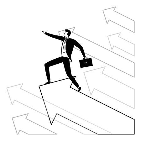 businessman with briefcase arrow growth business success vector illustration Stock Illustratie