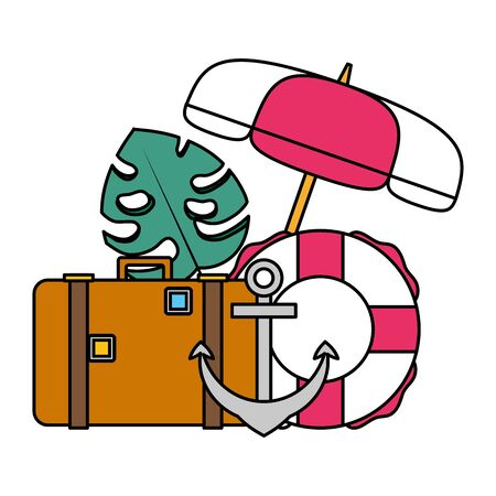 summer time holiday suitcase lifebuoy anchor umbrella leaf vector illustration Archivio Fotografico - 130160749