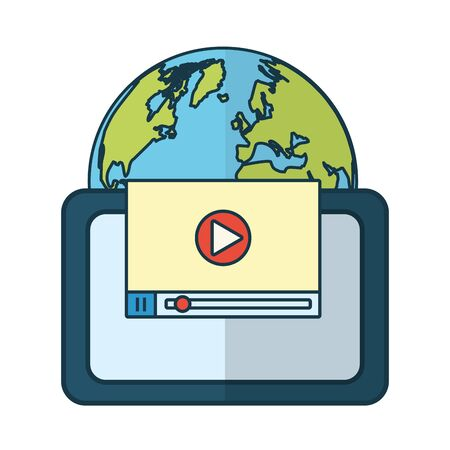 tablet computer world website send email vector illustration
