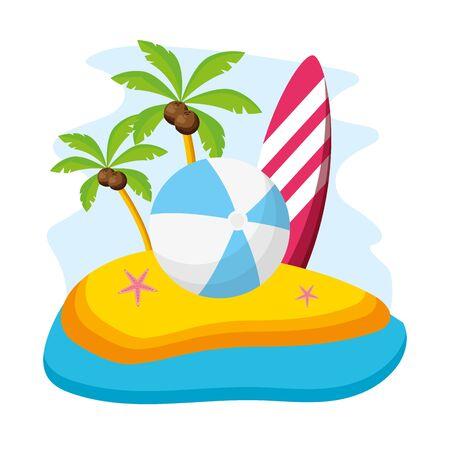 summer time holiday beach ball surfboard starfish palm vector illustration