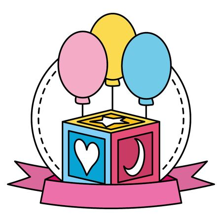 cube block with figures toy and balloons helium vector illustration design