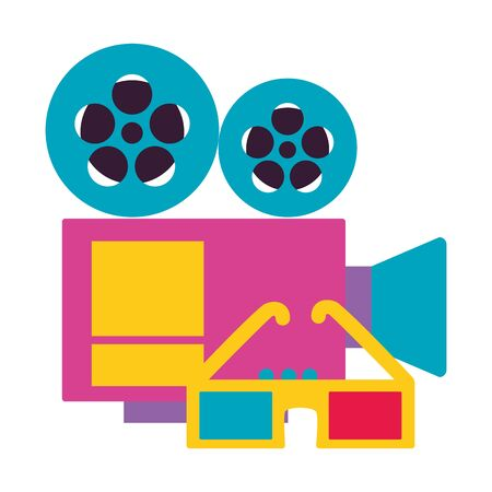 projector 3d glasses cinema movie vector illustration Imagens - 130160757
