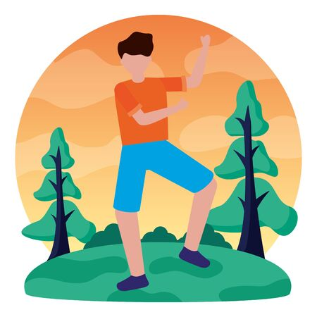 celebrating young man in the outdoors vector illustration Stock Illustratie