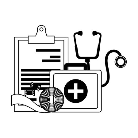 medical suitcase clipboard stethoscope bandage vector illustration