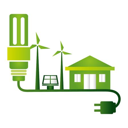 eco friendly environment bulb plug cable house solar panel turbine wind vector illustration Archivio Fotografico - 130160780