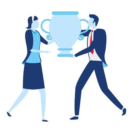 businessman and businesswoman award trophy vector illustration