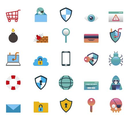 bundle of cyber security colorful set icons vector illustration design
