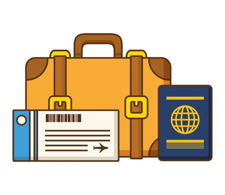 vacations suitcase ticket and passport vector illustration