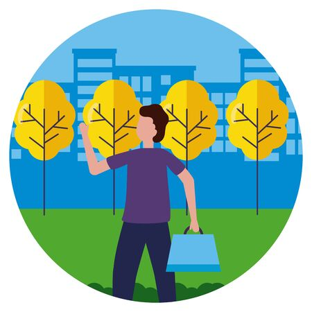 man with shopping bags in the city park vector illustration Ilustrace