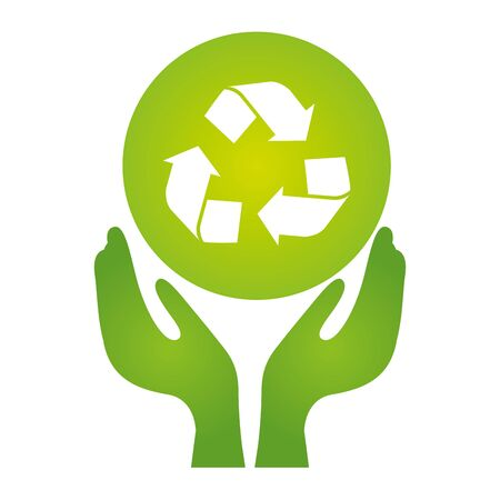 hands recycle symbol eco friendly environment vector illustration