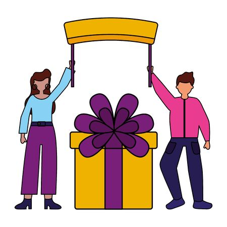 man and woman gift box board birthday celebration vector illustration Imagens - 130165134