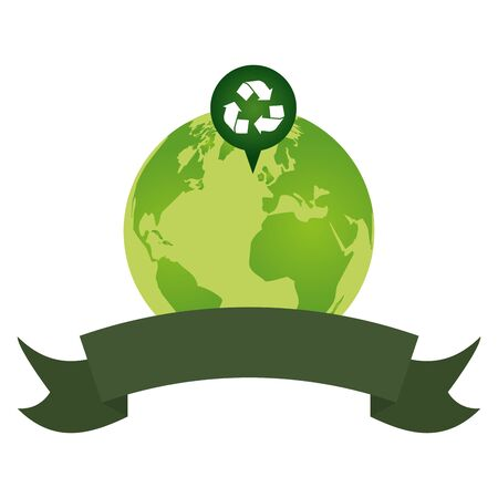 green planet recycle eco friendly environment vector illustration Иллюстрация
