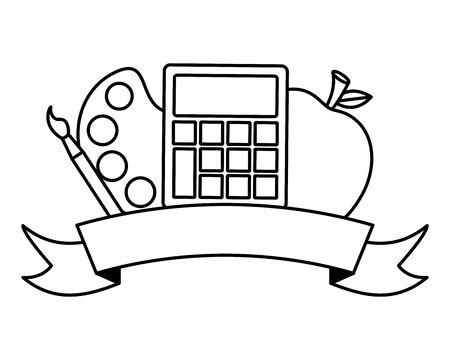 calculator apple palette color emblem back to school vector illustration 写真素材 - 130160824