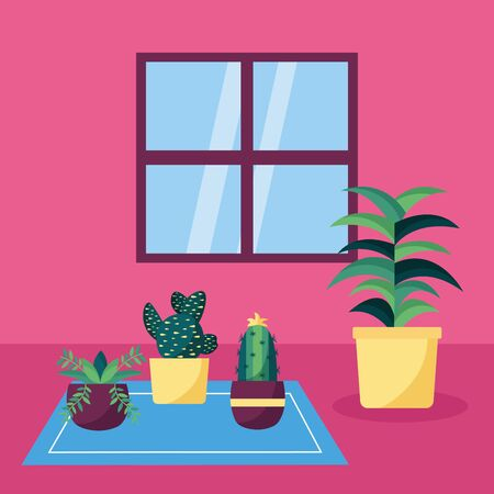 decorative house plants and cactus interior vector illustration Иллюстрация