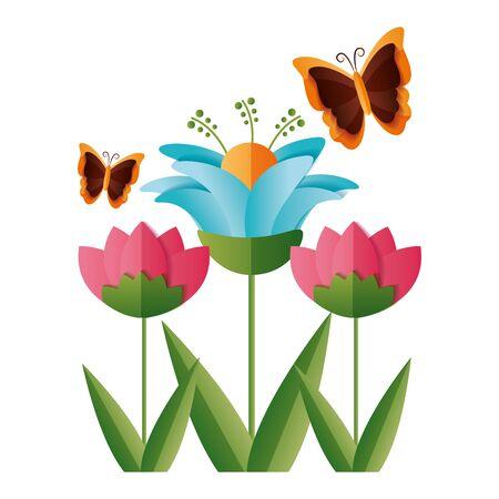 kwiat motyl dekoracja ozdoba wektor ilustracja projekt