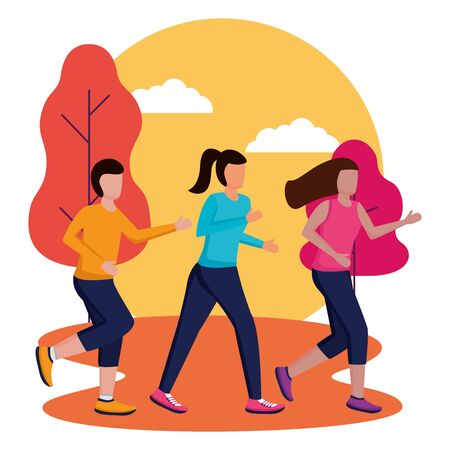 men and woman park running activity vector illustration