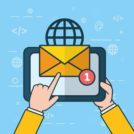hands with tablet notification world send email vector illustration Иллюстрация