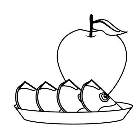 apples slice tropical fruits in dish vector illustration Archivio Fotografico - 130160834