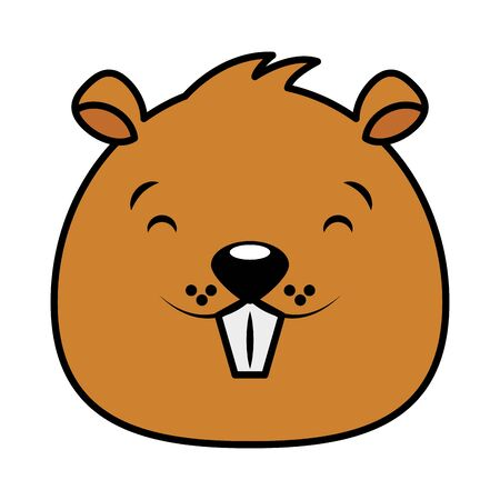 beaver face animal cartoon character vector illustration