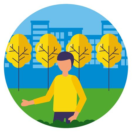 man character city park trees vector illustration