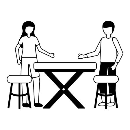 man and woman customers table and chairs vector illustration