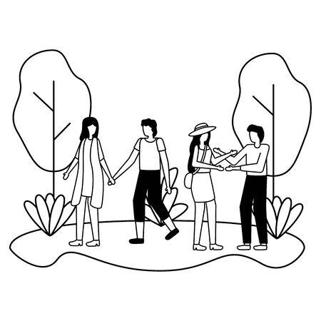 couples romantic love flat design vector illustration