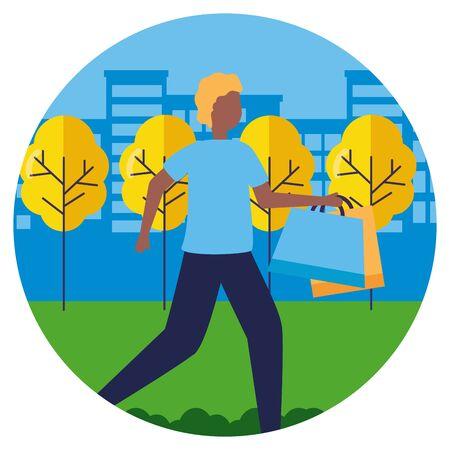 man with shopping bags in the city park vector illustration Illusztráció