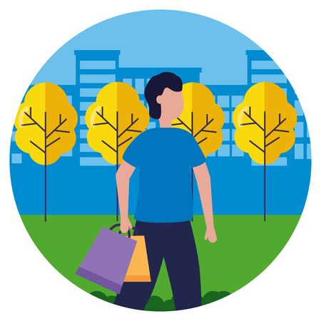 man with shopping bags in the city park vector illustration Stock fotó - 130165145