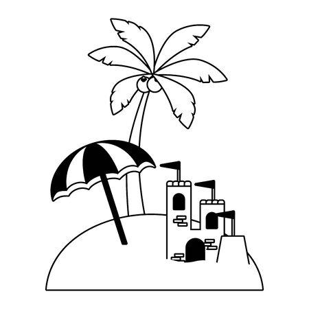 vacations beach umbrella castle and palm vector illustration Illustration