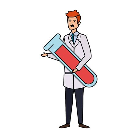 professional doctor with tube test avatar character vector illustration design