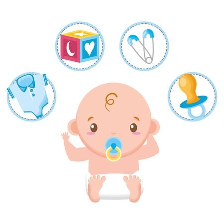 cute little baby boy with train and set toys vector illustration design Фото со стока - 130165147