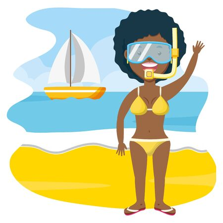 summer time woman with mask snorkel in the beach vector illustration