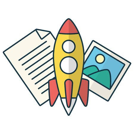 rocket picture document send email vector illustration
