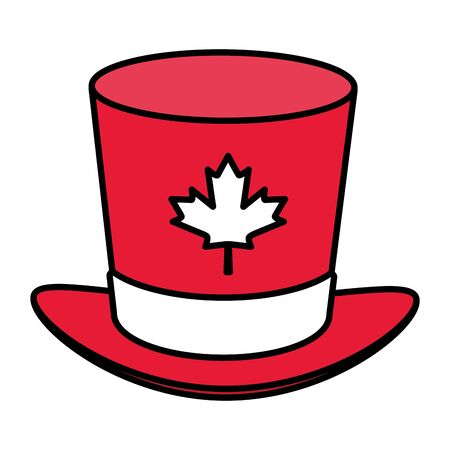 top hat maple leaf happy canada day vector illustration Archivio Fotografico - 130165154