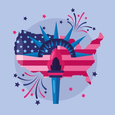 map torch fireworks american happy independence day vector illustration