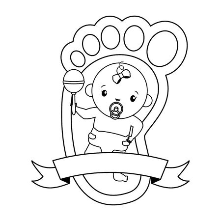 cute girl in diaper with rattle in footprint baby shower vector illustration