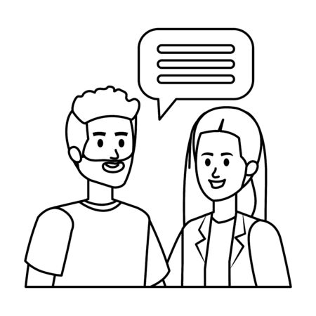 young couple with speech bubble vector illustration design Ilustracja