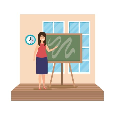 young teacher female with chalkboard classroom scene vector illustration design