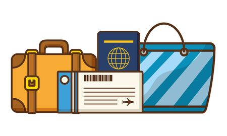 vacations suitcase handbag passport ticket vector illustration Фото со стока - 130165166
