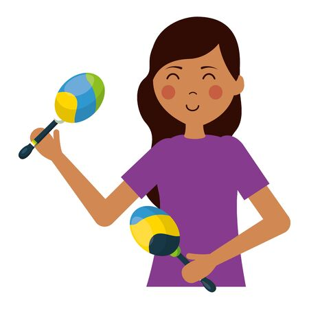 young woman with maracas music instrument vector illustration Çizim