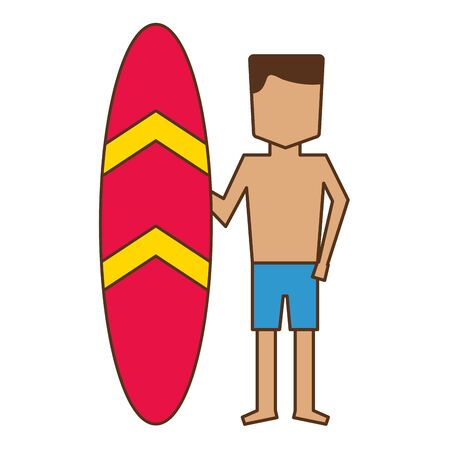 man in short with surfboard vacations vector illustration