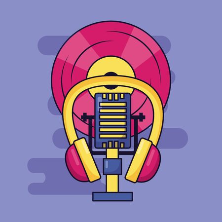 microphone earphones vinyl music colorful background vector illustration Ilustracja