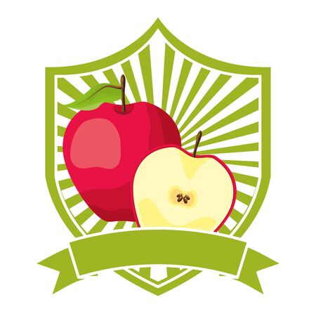 apple tropical fruits ribbon emblem vector illustration