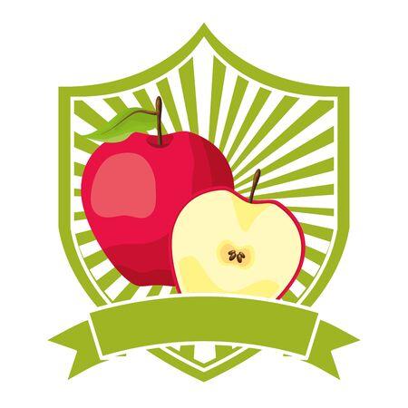 apple tropical fruits ribbon emblem vector illustration