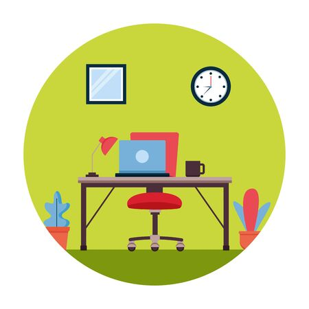 desk chair laptop lamp clock window coffee cup plant workplace office furniture vector illustration