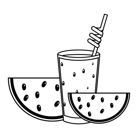 summer time holiday cocktail and watermelon slice vector illustration