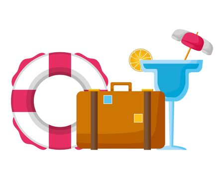 summer time holiday suitcase lifebuoy cocktail  vector illustration