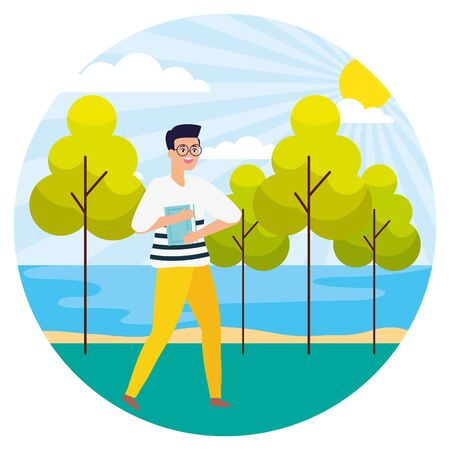 man with book landscape nature trees river vector illustration