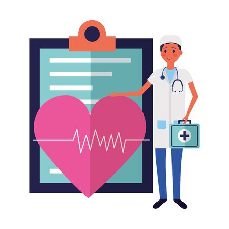 medical people staff clipboard and heartbeat suitcasevector illustration